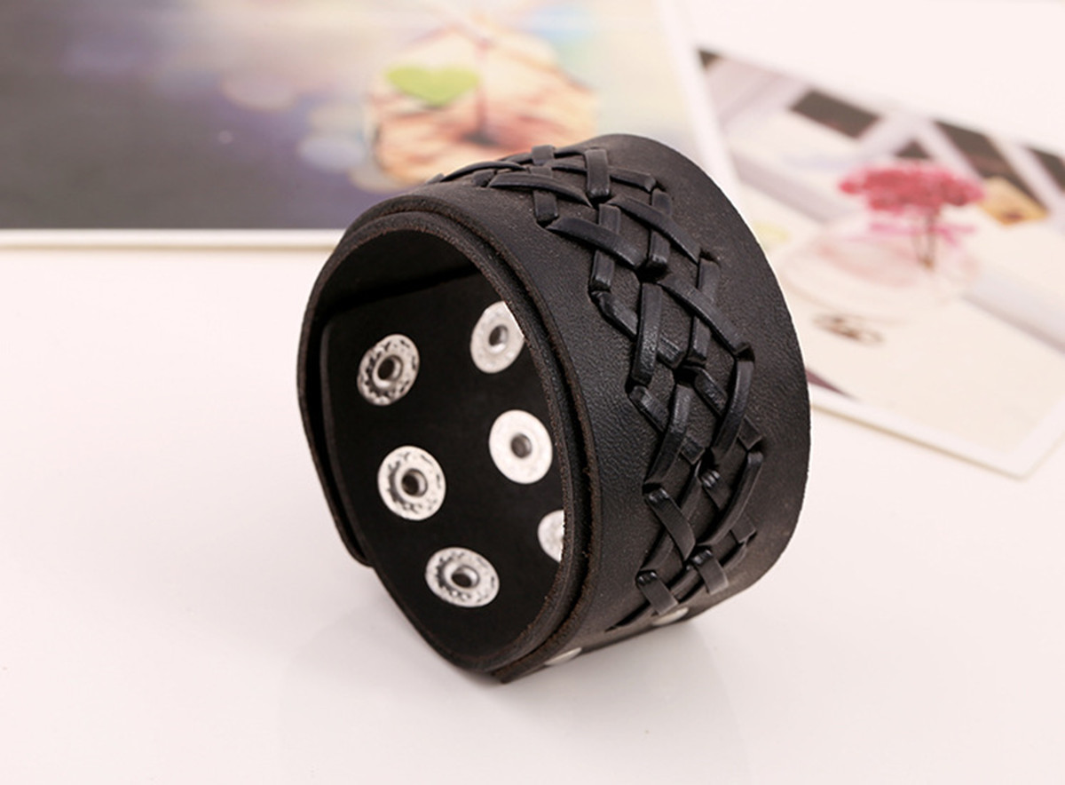 Punk Weaving Adjustable Bracelet Men Wristband Cross Bangle Chain