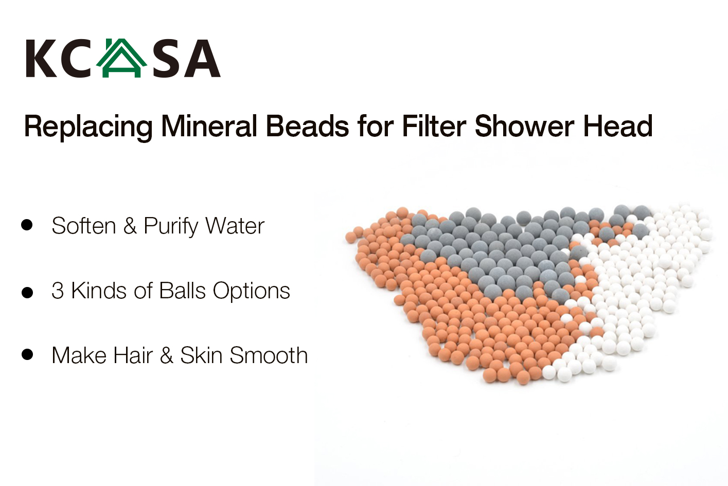 KCASA Replacing Mineral Beads Negative Ions Ceramic Energy Balls for KCASA KC-SH460 Filter Shower Head