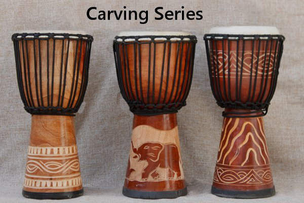 8 Inch Mahogany African Hand Drum Djembe Painted Carved Jambe Drummer