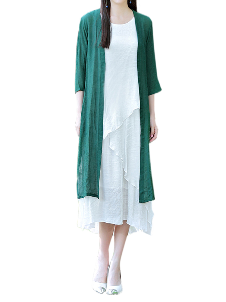 Women Casual Solid Color Linen Cotton Slit Long Outerwear Cardigan