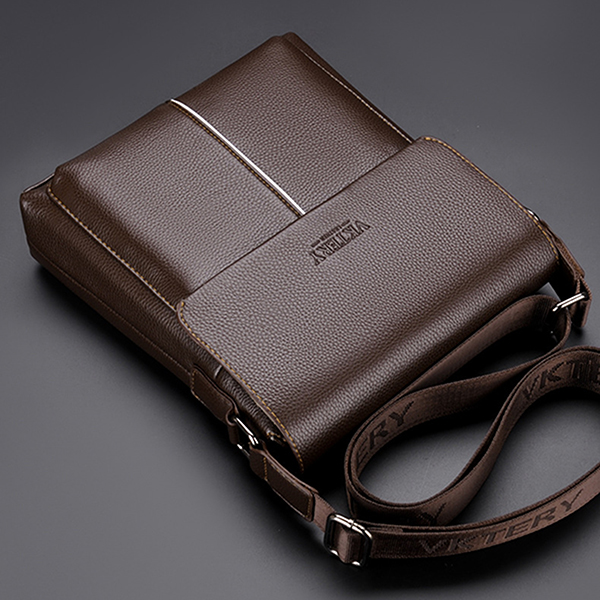 Men PU Leather Minimalist Shoulder Bag Leisure Business Crossbody Bag Briefcase