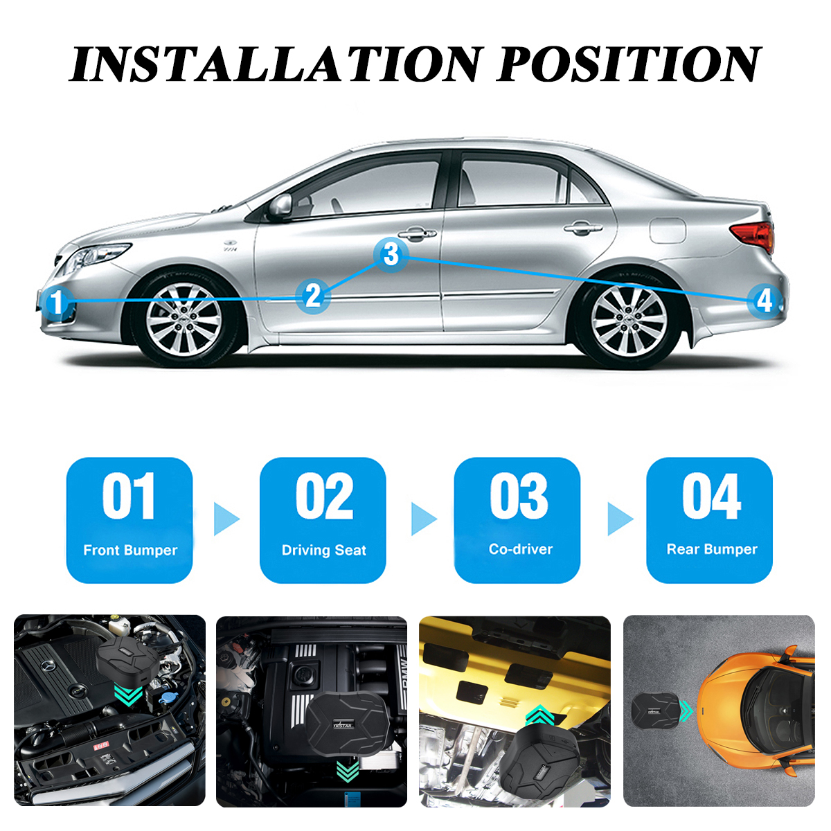 GSM GPS Dual Mode Positioning Car Tracker With Long Standby Strong Magnetic Adsorption Function
