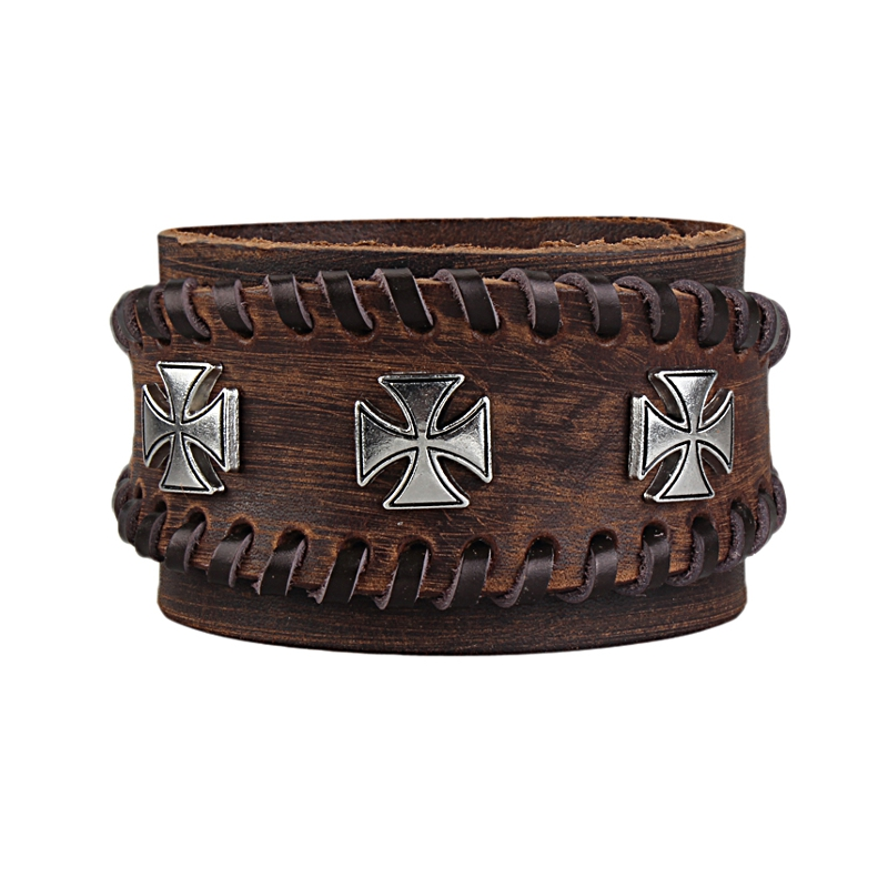 Retro Adjustable Zinc Alloy Cross Genuine Leather Bracelet