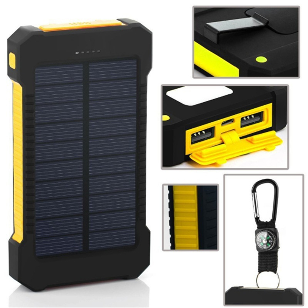 10000mAh DIY Waterproof Solar Powered System Charger 2 USB + LED Solar Charger Case Kit