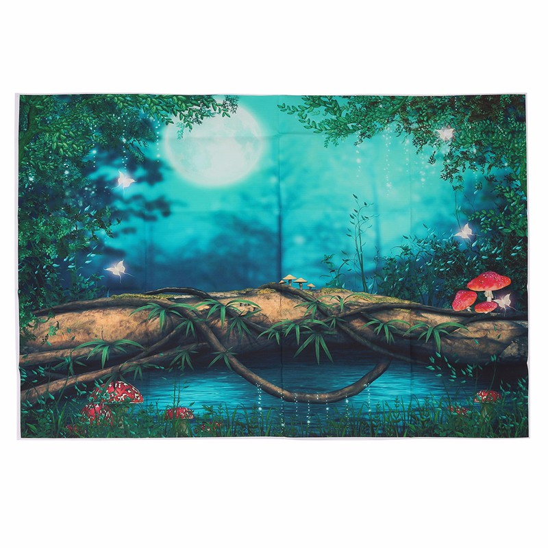 3x5FT Vinyl Fairy Tale Forest Night Moon Photography Backdrop Background Studio Prop