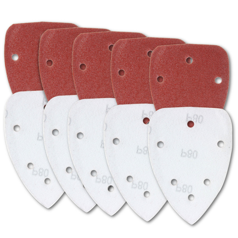 10pcs 6 Holes 140mm Triangle Sandpaper Sanding Sheets Mouse Sander Discs