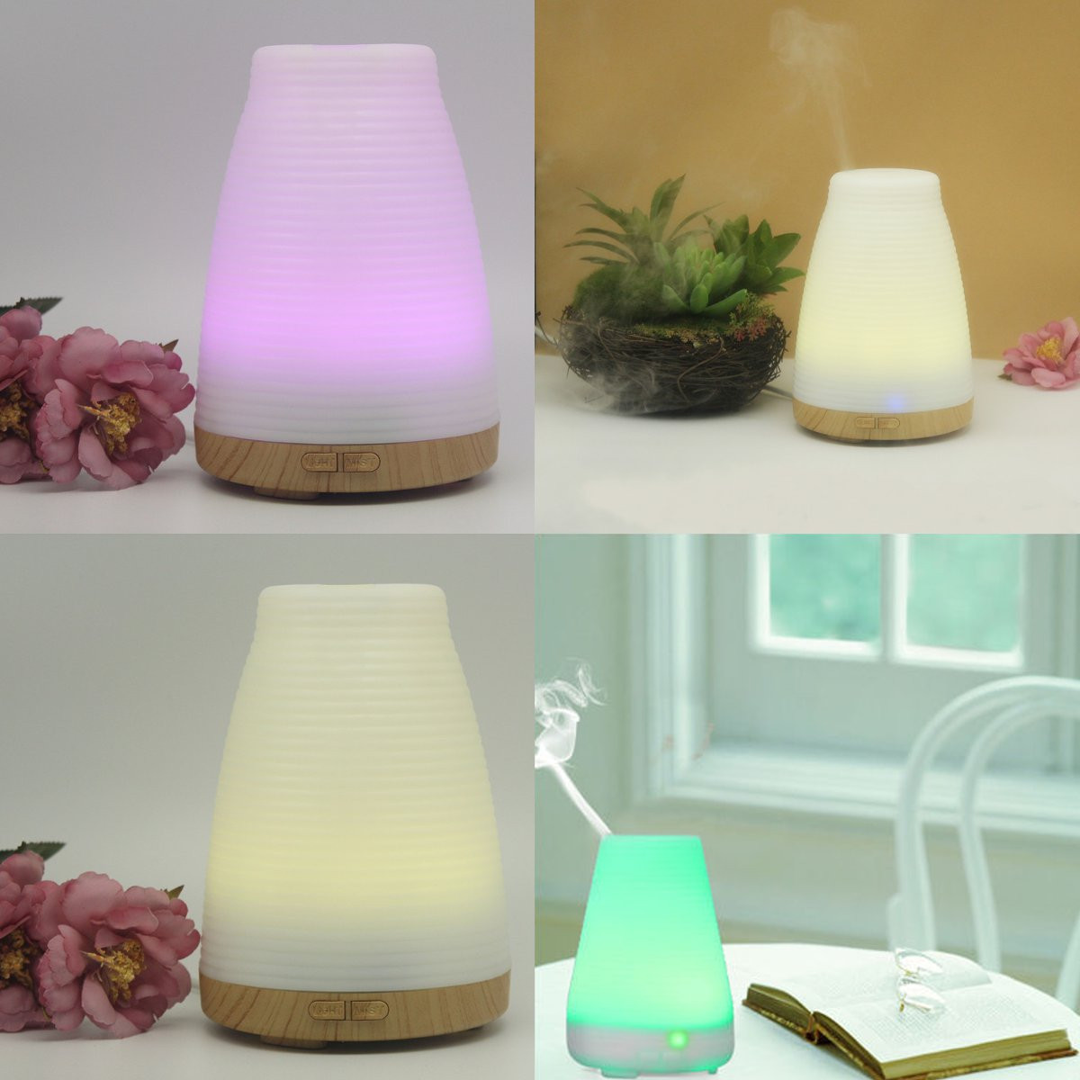 100ml Essential Oil Diffuser Ultrasonic LED Humidifier Air Aromatherapy Purifier