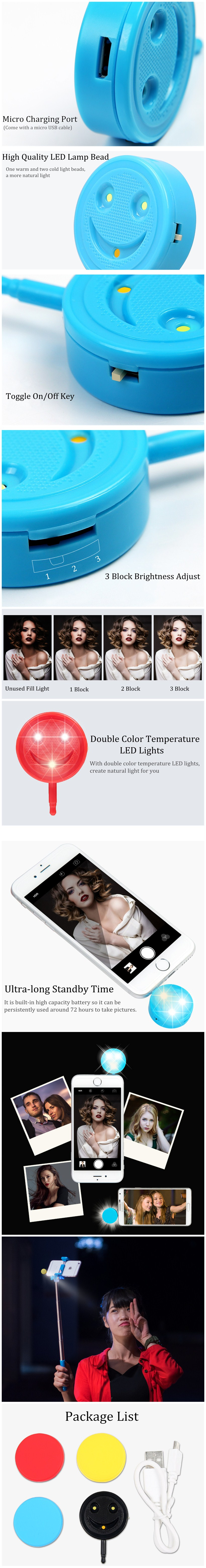 Mini Portable 3.5mm 4-in-1 Cold-Warm 3 LED Fill Light Lamp Smiling Face Flash For iPhone Samsung