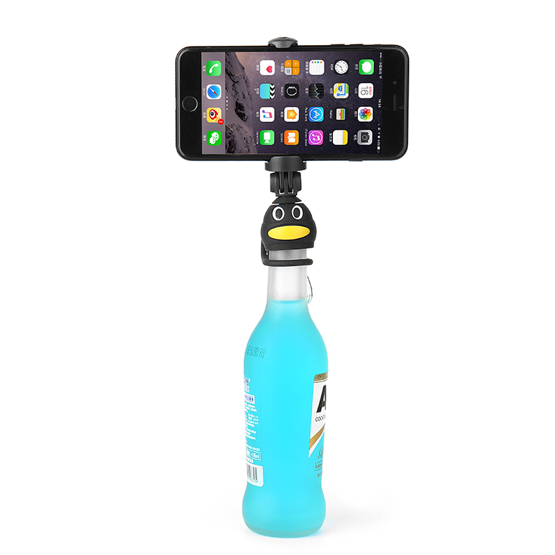 Q3 Selfie Stick Bottle Cap Head Stand Holder with Stand Clamp for iPhone Xiaomi Huawei Smartphones