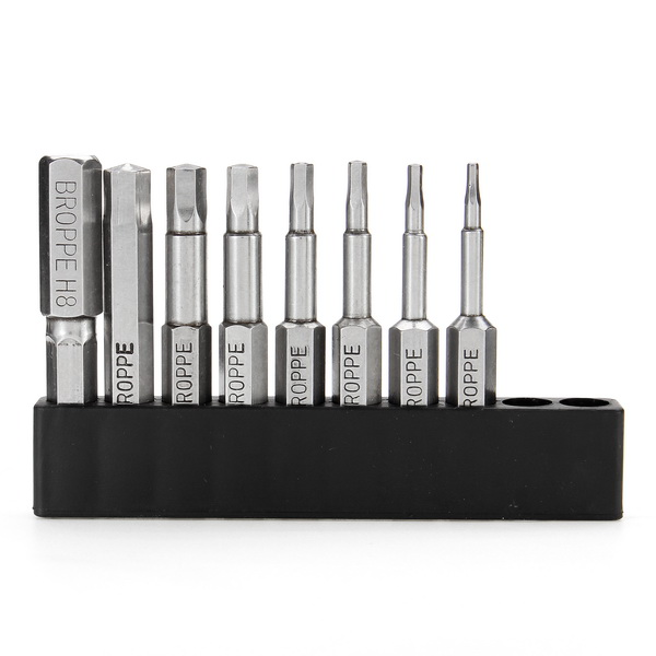 Broppe 8pcs 50mm H1.5-H8 Hex Head Screwdriver Bit 1/4 Inch Hex Shank Magnetic Screwdriver Bits