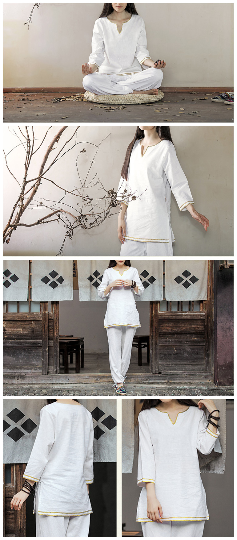 Women Yoga Suit Cotton Linen Meditation Clothing Set Lady Dance Fitness Clothes Sportswear