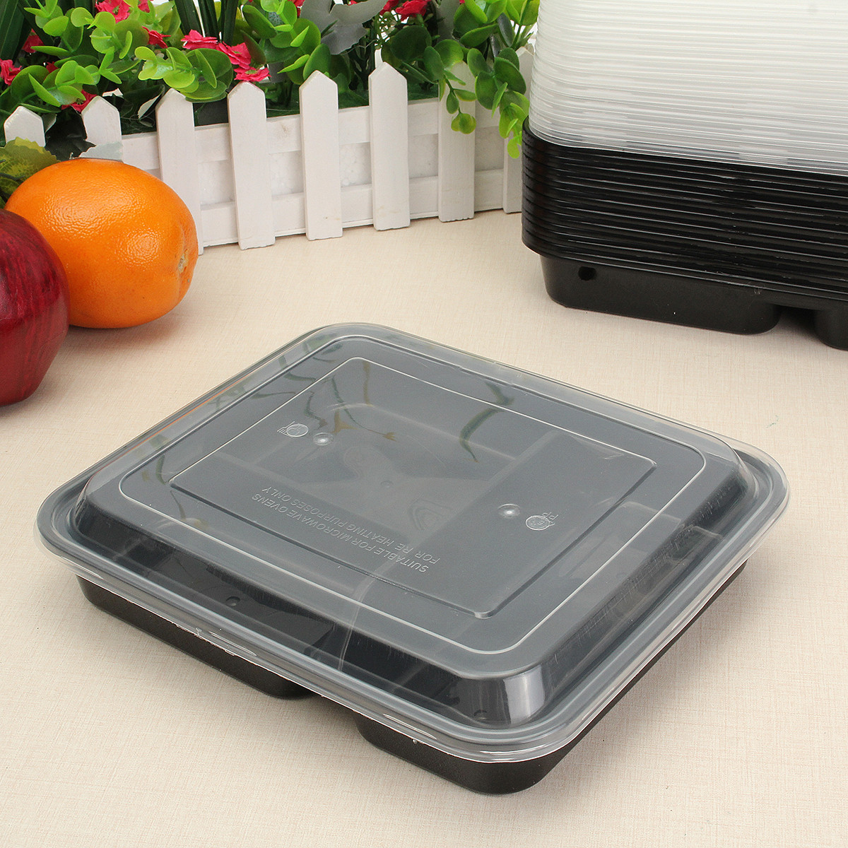 20Pcs Plastic Meal Prep Storage Container Lunch Food Box 3 Compartments Microwave Safe