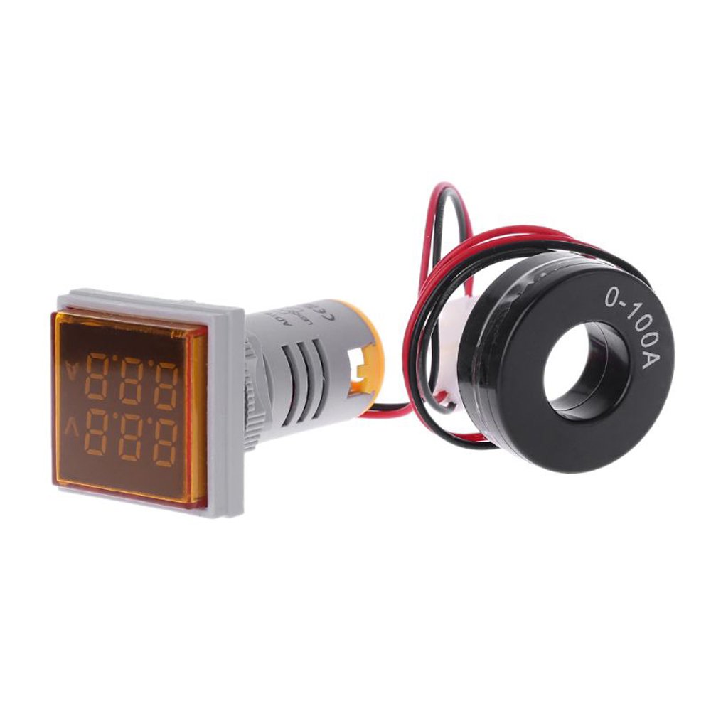 Geekcreit® AC 60-500V 0-100A D18 Square LED Digital Dual Display Voltmeter Ammeter Voltage Gauge Current Meter