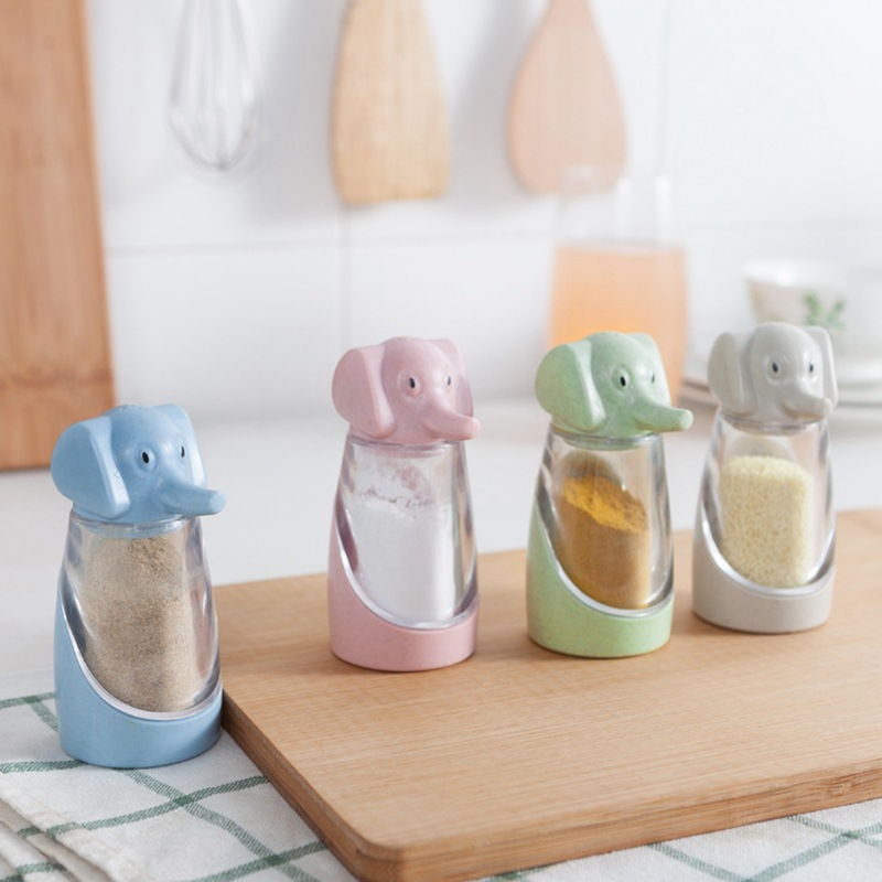 Wheat Straw Elephant Creative Kitchen Supplies Barbecue Seasoning Cans Pepper Seasoning Box
