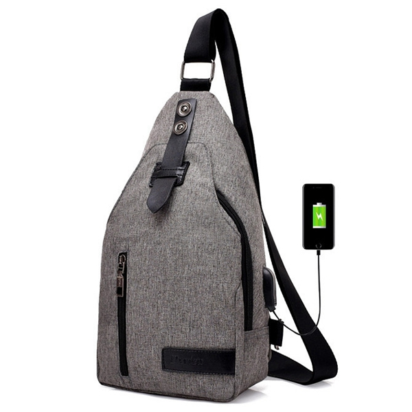 Men Oxford Casual Multi-functional USB Charging Port Sling Bag Chest Bag Crossbody Bag