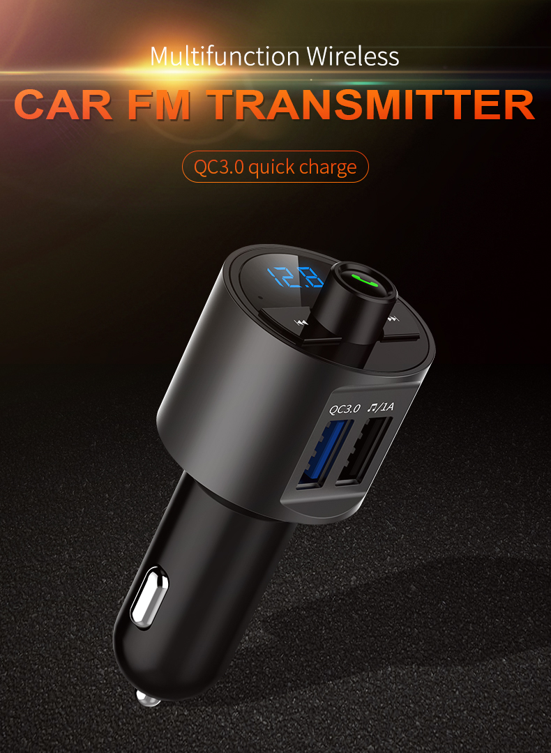 Mini LED Display Dual USB bluetooth Hands-free Smart Quick Wireless 3.6A Car Charger with Microphone