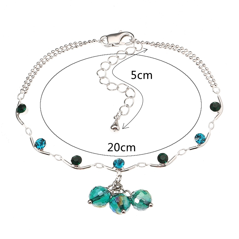 JASSY® Fine Anklet Fashion Platinum Plated Blue Triple Bead Crystal Pendant Unique Jewelry for Women
