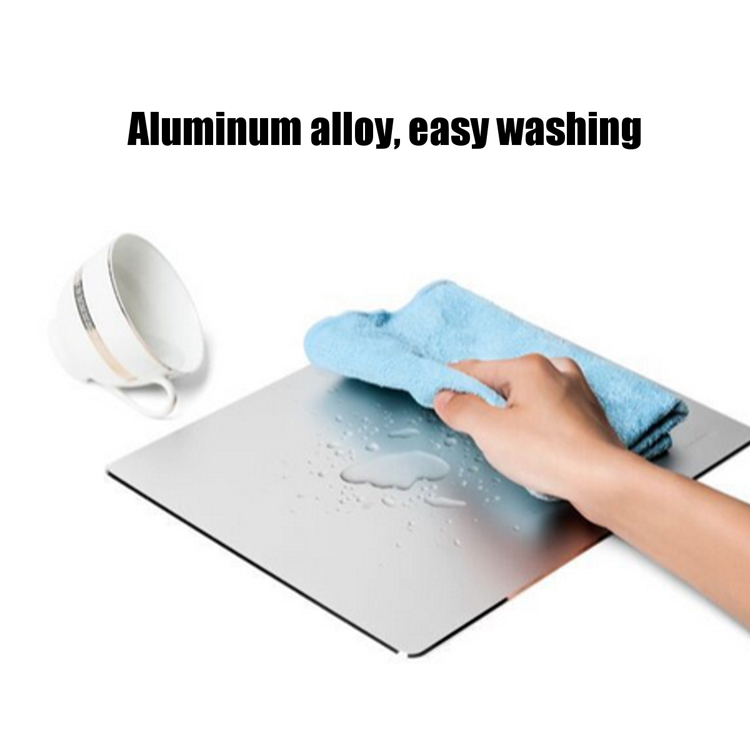 Metal Aluminum Alloy Slim 220x180x2 mm Mouse Pad With Non-slip Rubber Base