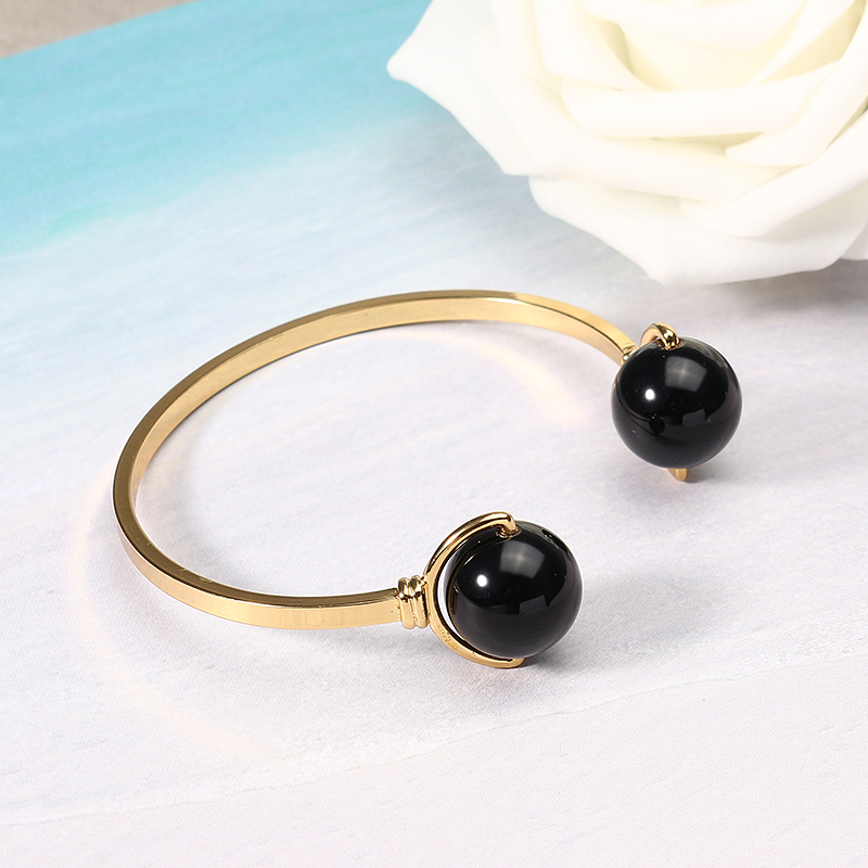 JASSY® Elegant Black Agate 18K Gold Plated Open-End Bracelet