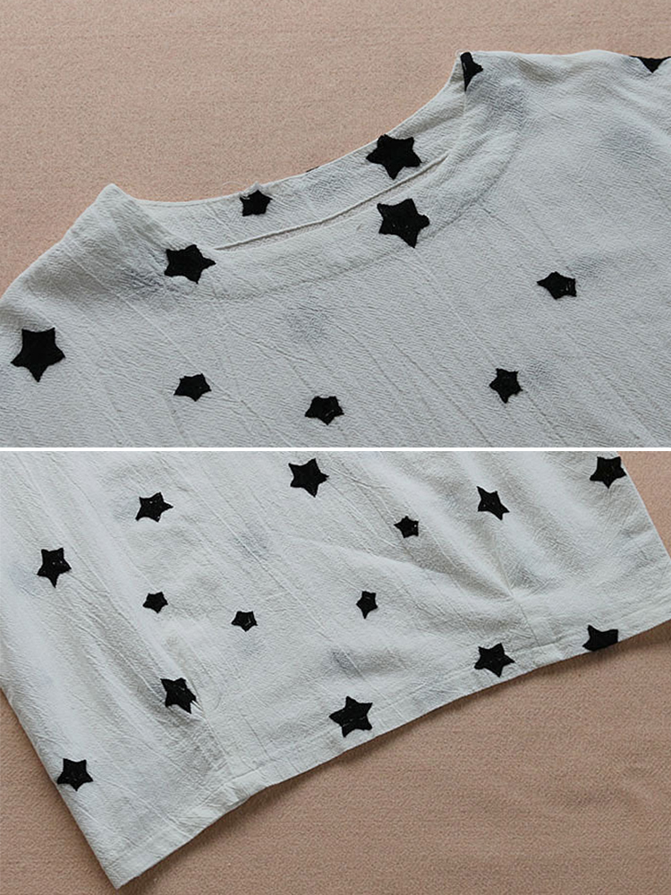 Women Long Sleeve Star Print Crew Neck Cotton Vintage Blouse