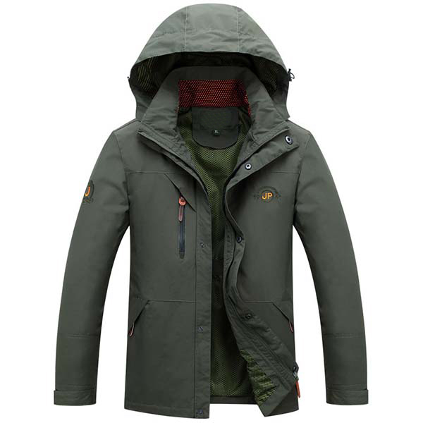 Mens Spring Autumn Outdoor Hooded Zipper Button Casual Jacket
