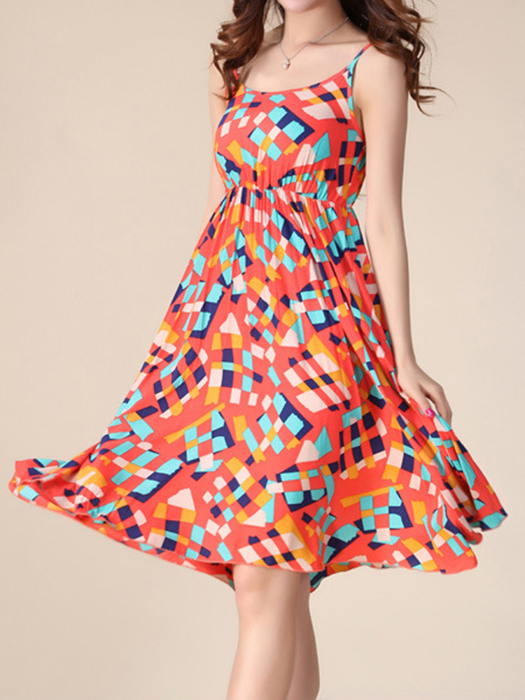 Bohemian Women Strap Flower Pattern Printing Beach A-line Dress