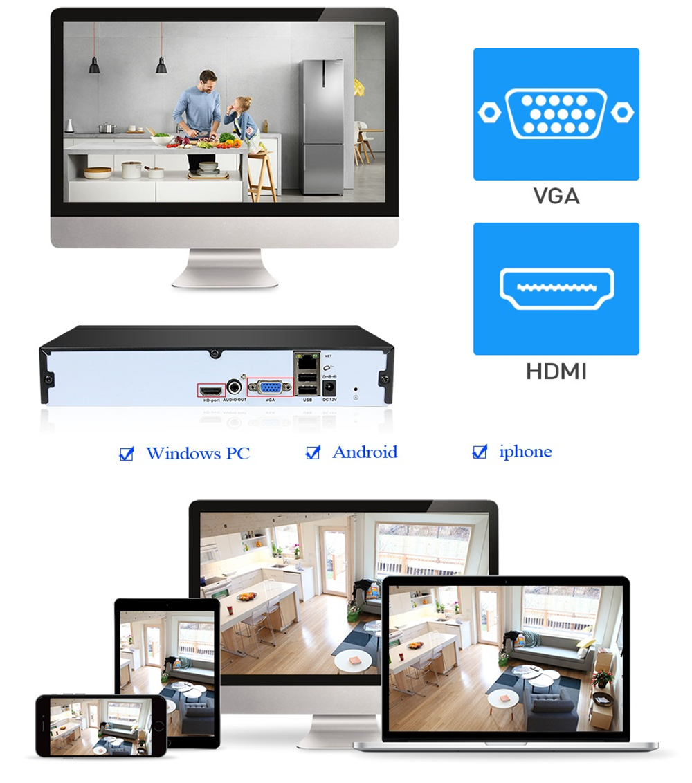 Hiseeu H.265 HEVC 8CH CCTV NVR for 5MP/4MP/3MP/2MP ONVIF IP P2P Camera Metal Network Video Recorder