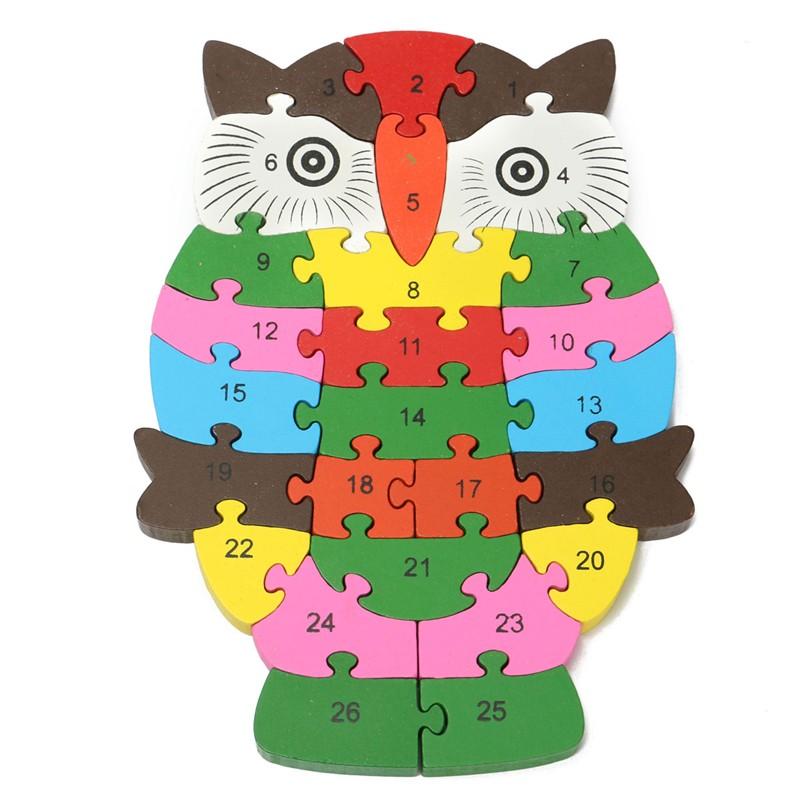 Wooden Animal Shape Puzzle Blocks 26 Alphabet Number Children's Educational Toys