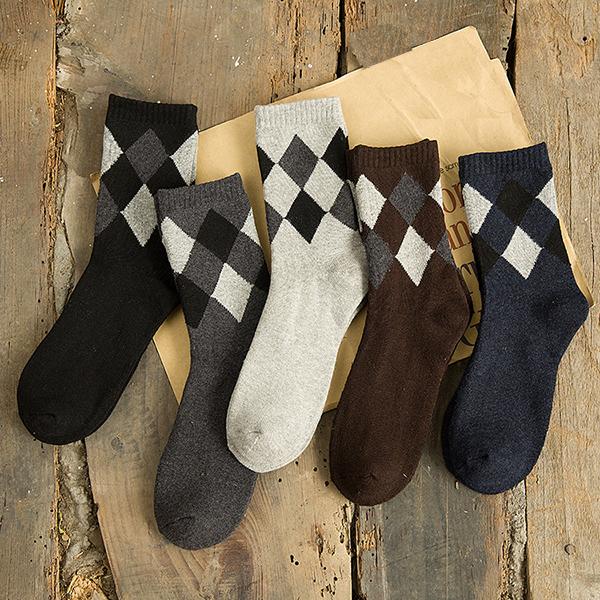 Mens Fashion Thick Plaid Socks Spell Color Cotton Autumn Winter Socks