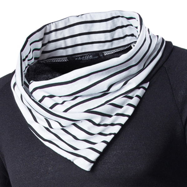 Mens Stitching Stripe Collar Knitted Pullover Autumn Winter Fashion Casual Pullover