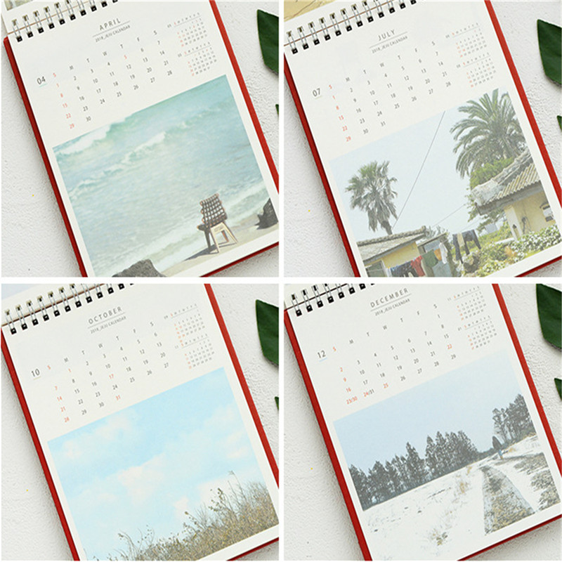 2018 Desk Standing Calendar JeJu Island Sightseeing Monthly Agenda Planner School Office Supplies