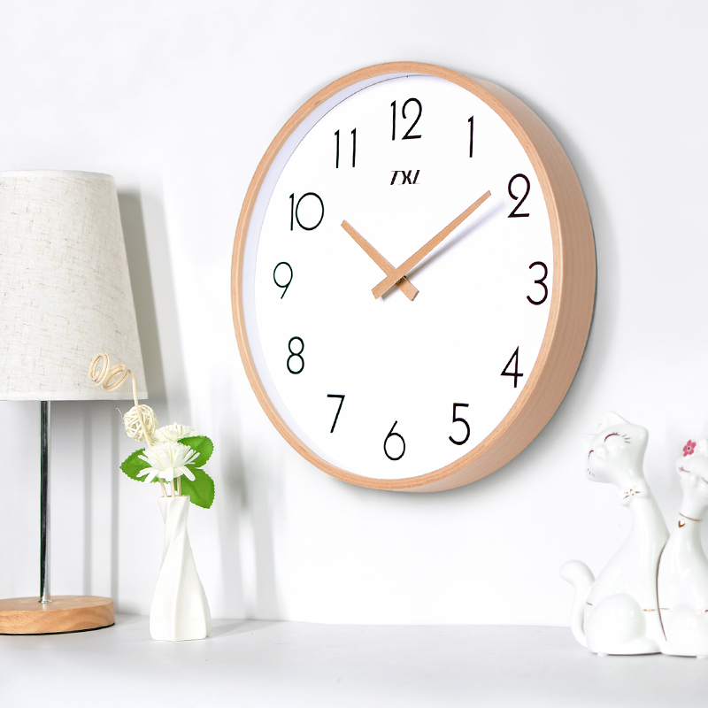 TXL 14 Inch Glass Wooden Wall Clocks Silent Quartz Non Ticking Wall Clocks Living Room Office Wooden Hand Simple Concise Home Decor