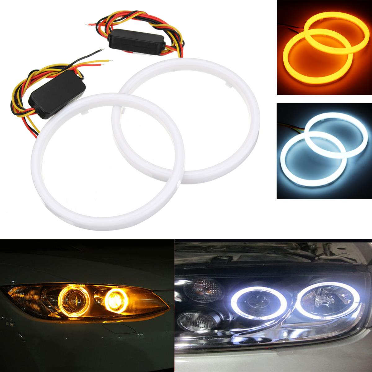 Pair 60/70/80/90/100/110mm 2835 LED Angel Eyes Lights H