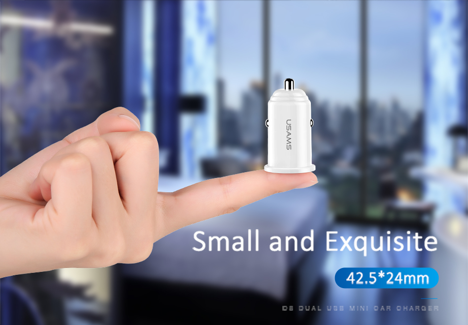 USAMS C8 3.1A Dual Ports Fast USB Car Charger With Indicator For Smart Phone Tablet Camera MP4