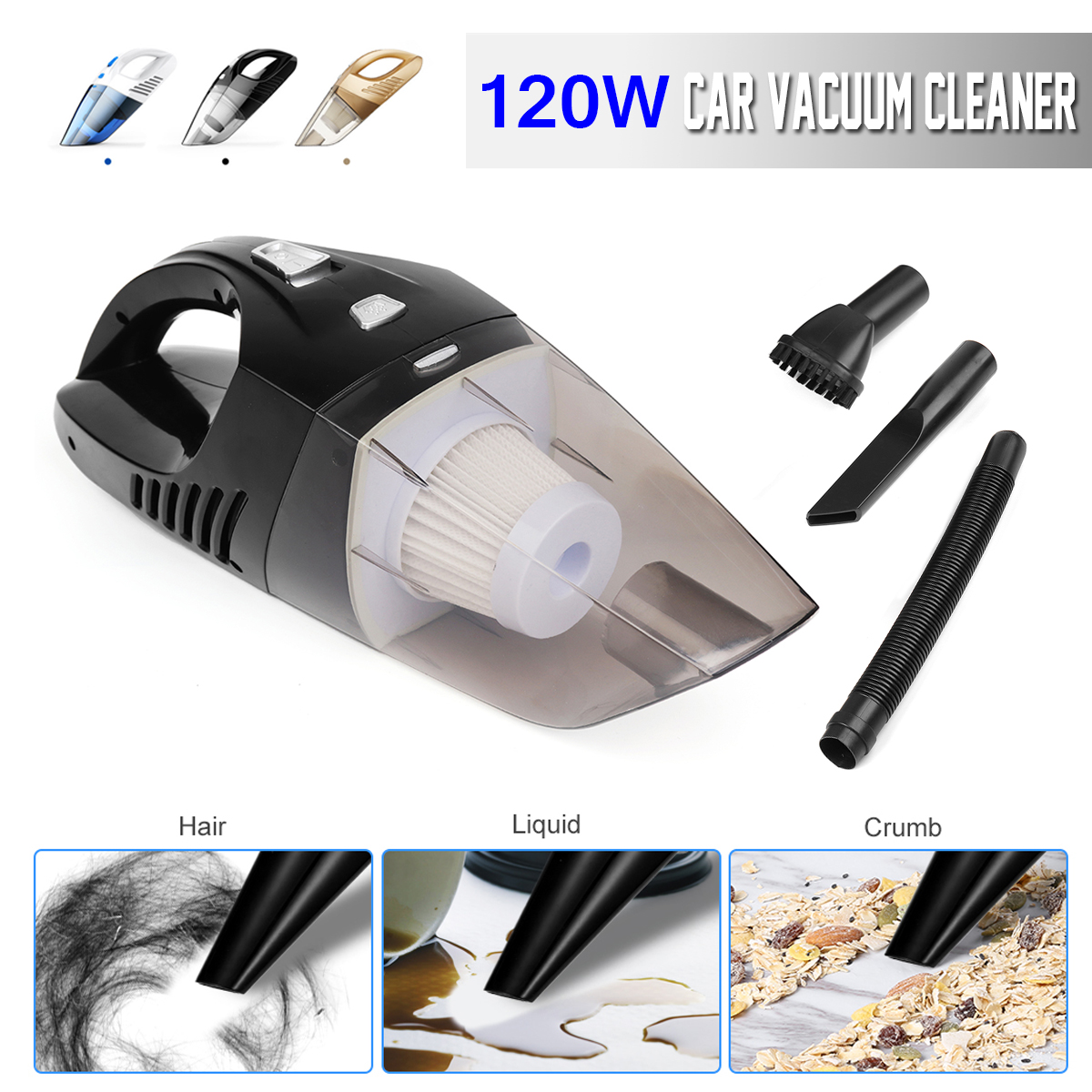 120W High Power Rechargeable Cordless Wet & Dry Car Home Vacuum Cleaner