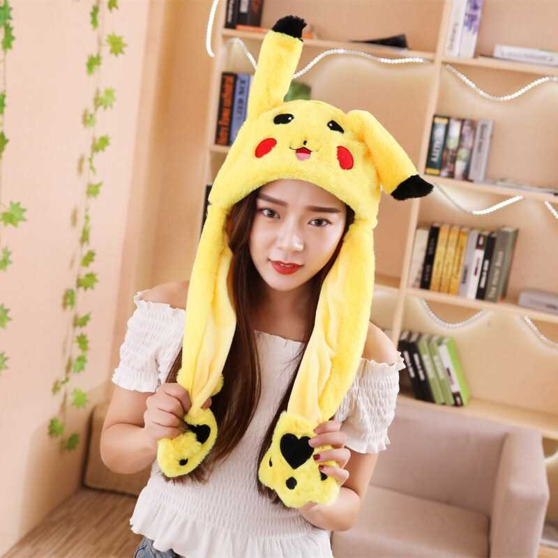 60CM Yellow Cartoon Ear Hat Can Move Airbag Cap Stuffed Plush Gift Record Video Dance Toy Neckerchief