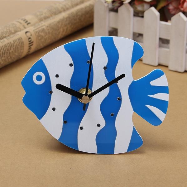 Magnet Quartz Clock Refrigerator Wall Clock Fish Design Creative Home Decor