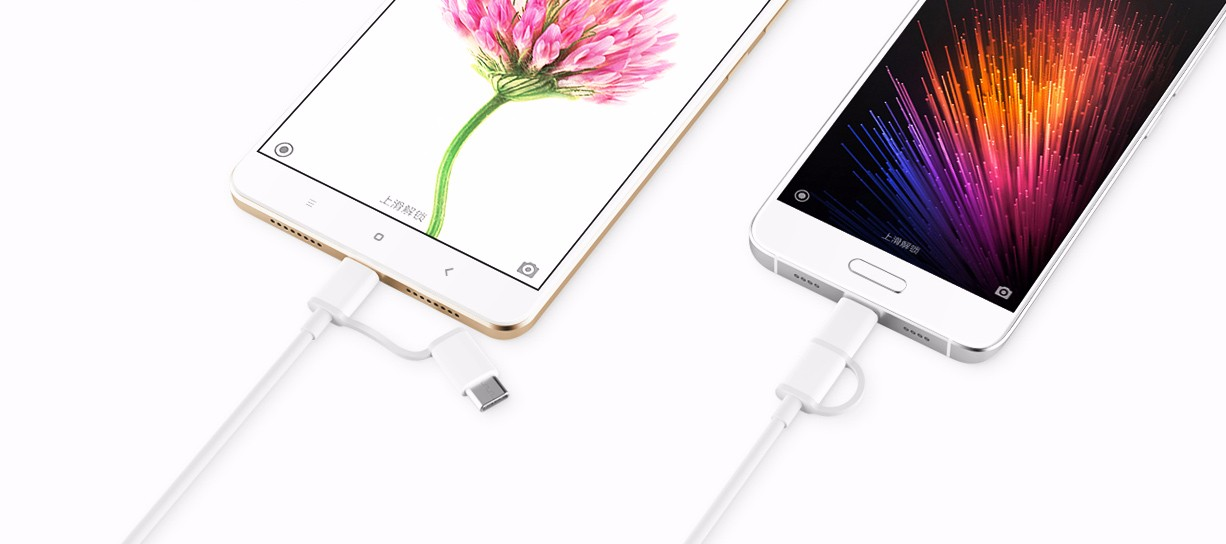 Original Xiaomi 30CM 2 in 1 Type-C and Micro USB Cable for Mobile Phone