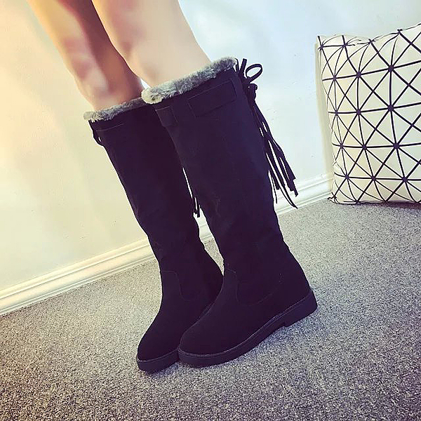 Winter Ladies Warm Over-The-Knee Boots Tassels Round Toe Snow Boots Warm Snow Boots