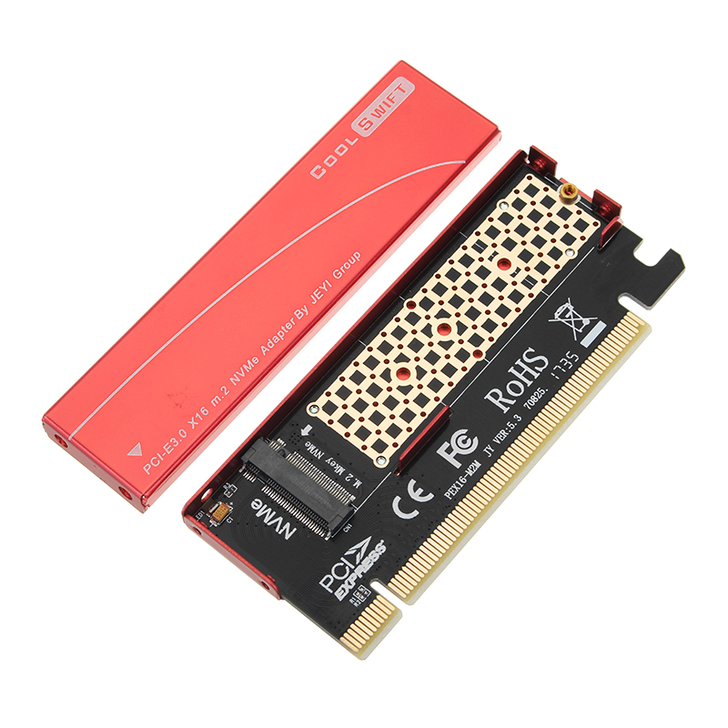 JEYI NVME M.2 PCI-E X16 2280 Expansion Card Gold Bar Al