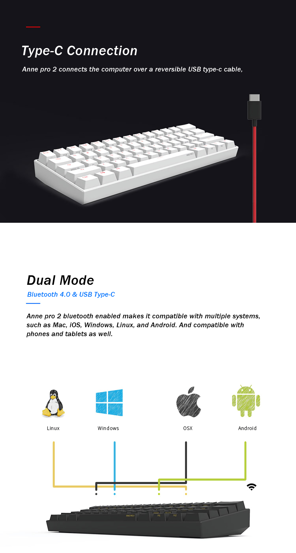 [Kailh BOX Switch]Obins Anne Pro 2 60% NKRO bluetooth 4.0 Type-C RGB Mechanical Gaming Keyboard