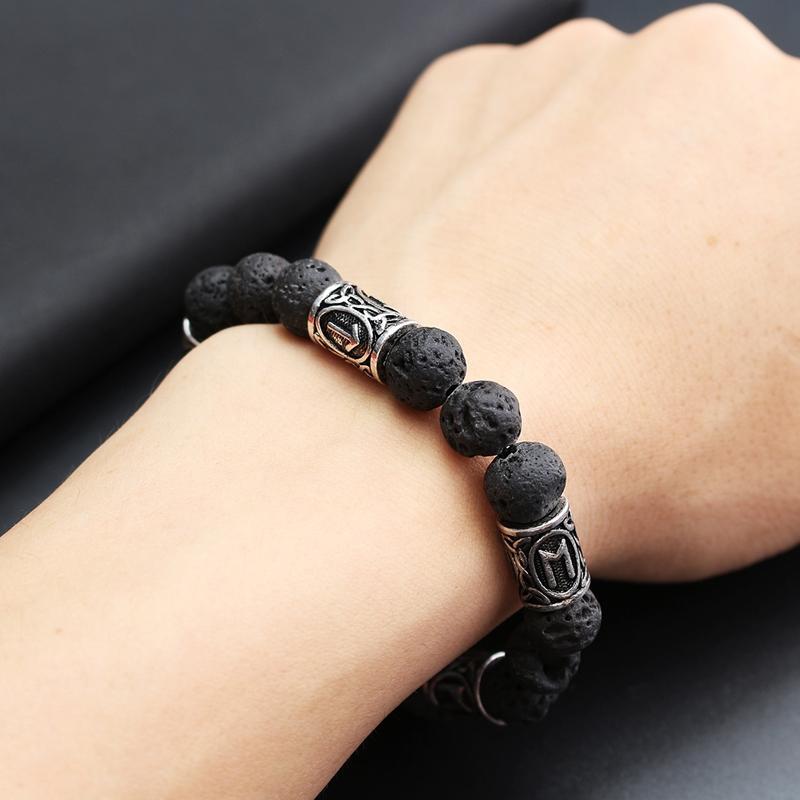 Norse Viking Rune Spacer Lava Stone Rock Beads Bracelet