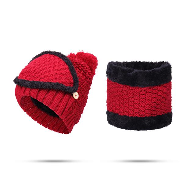 Women Knitted Winter Beanie Hat Collar Scarf Set