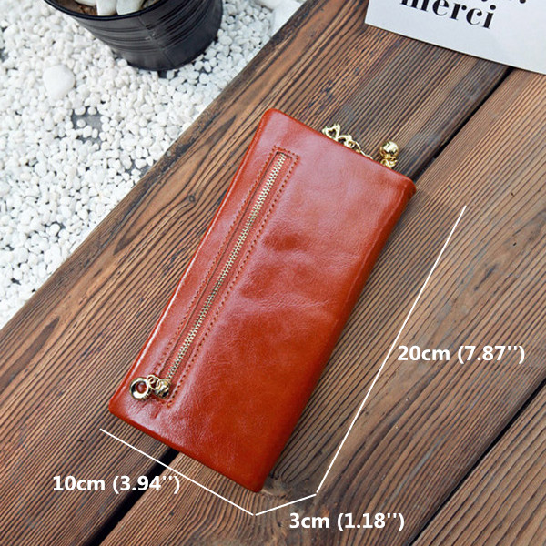 Waxy Oil Leather Long Wallets Girls Hasp Purse Zipper Card Holder Coin Bags 5.5'' Phone Bags