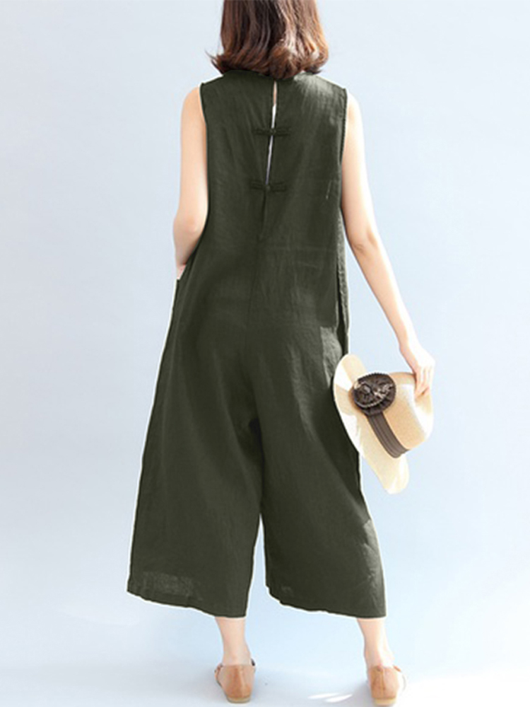 Women Sleeveles Overalls Wide Leg Jumpsuit
