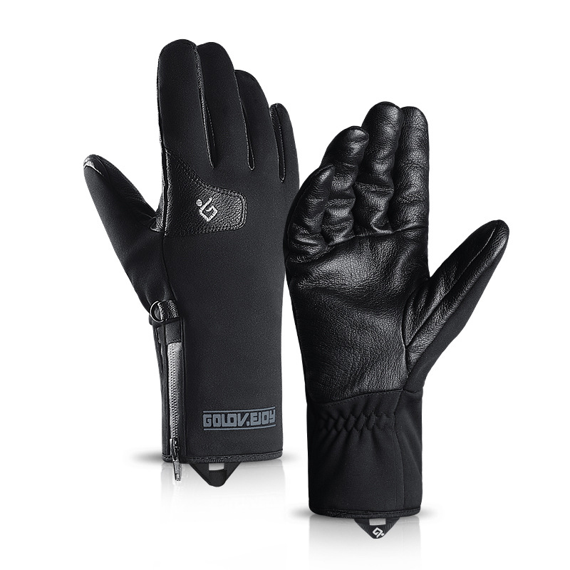 Unisex Winter Thick Genuine Leather Windproof Skiing Gloves