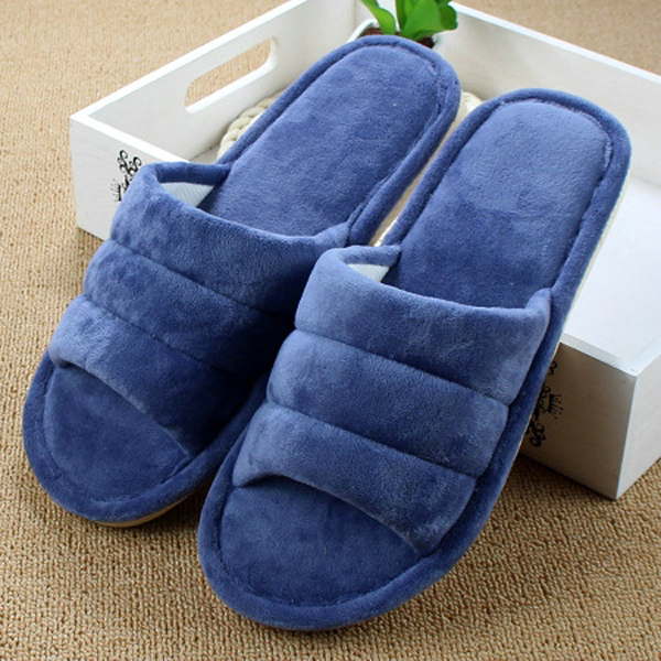 Unisex Peep Toe Wool Cotton Warm Home Slippers For Women And Men