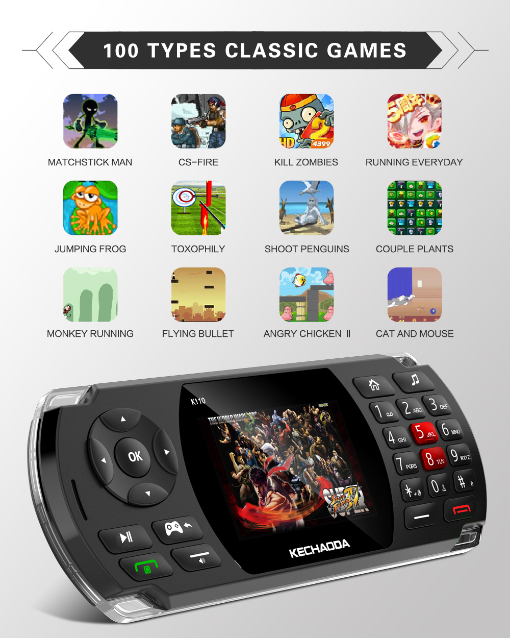 KECHAODA K110 Game Phone 2.8 inch 2600mAh 100 Classic Game Torch Big Sound Speaker With Vibration Dual SIM Card Dual Standby Feature Phone