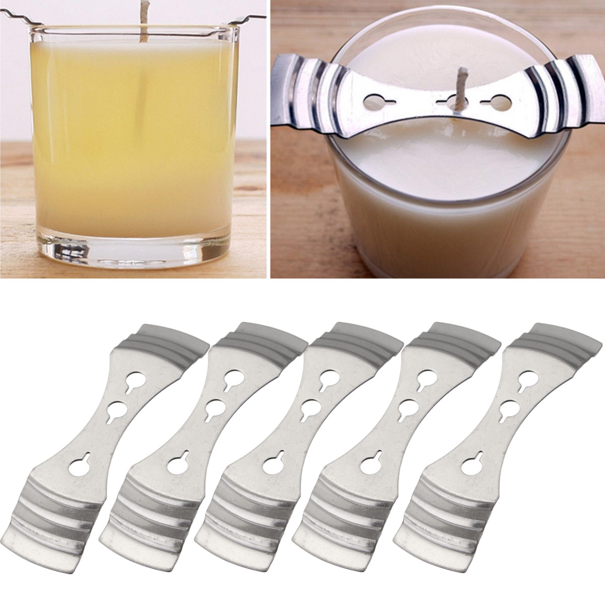 5Pcs Metal Candle Wicks Centering Device Holders Hole Clips