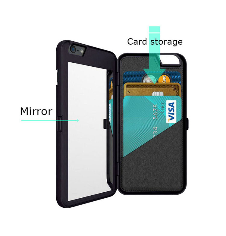 Mirror Card Slot Wallet Back Flip Bracket PC Case for iPhone 6Plus/6sPlus